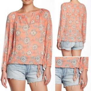 NWT Lucky Riveria Floral Peasant Top 100% Silk (S)